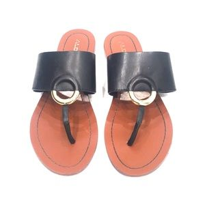 Aldo Leather Sandals with Gold Buckle